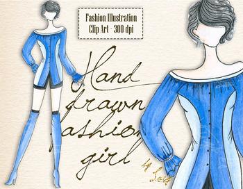 Fashion Clip Art Hand Drawn Fashion Girl Chic Street Style