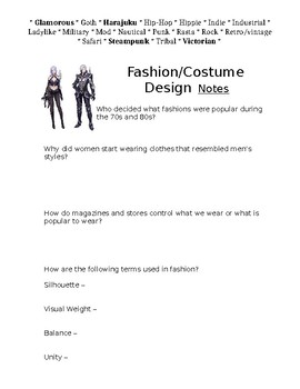 Fashion Design Art Lesson Papers