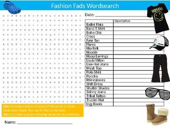 Fashion Fads Wordsearch Puzzle Sheet Keywords Textiles Design