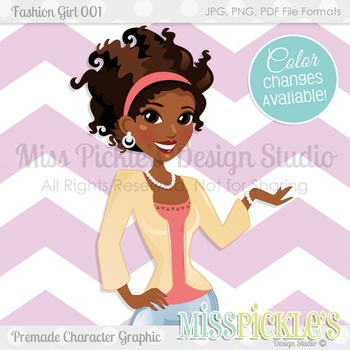 Fashion Girl 001, Teacher Avatar- Commercial Use Character Graphic