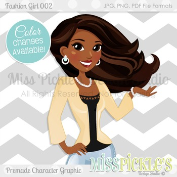 Fashion Girl 002, Teacher Avatar- Commercial Use Character Graphic
