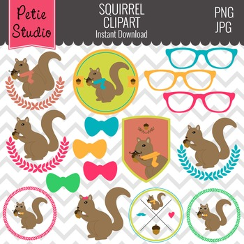 Squirrel Clipart // Hipster Clipart // Glasses Clipart - Animals106