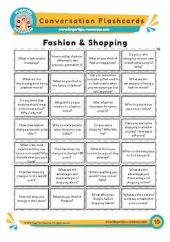 Fashion & Shopping - Conversation Flashcards