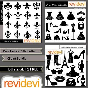 Fashion Silhouette Clip art (3 packs) fleur de lis, boutique, shoes, dress