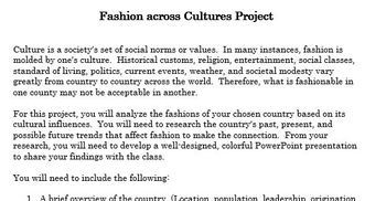Fashion across Cultures Project and Rubric