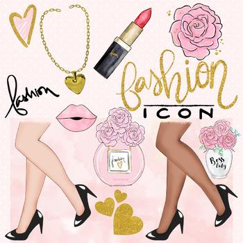 Fashion girl, planner girl, social media clipart for commercial use.