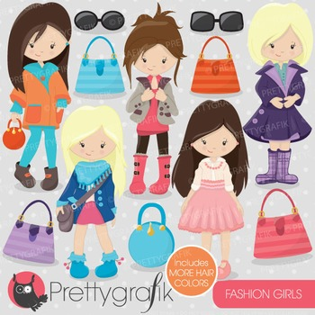 Fashion girls clipart commercial use, vector graphics, digital - CL702