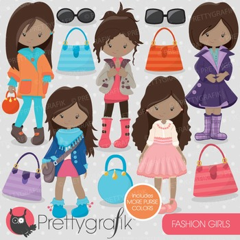 Fashion girls clipart commercial use, vector graphics, digital - CL703