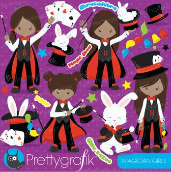 Magician girls clipart commercial use, vector graphics, digital - CL704