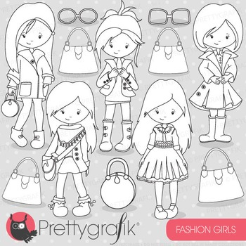 Fashion girls stamps commercial use, vector graphics, images - DS702