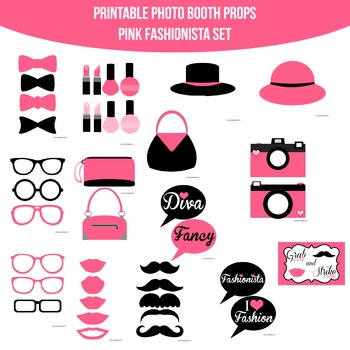 Fashionista Pink Printable Photo Booth Prop Set