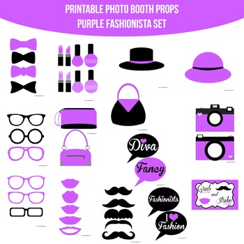 Fashionista Purple Printable Photo Booth Prop Set