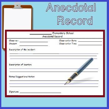 Anecdotal Record Form Worksheets Teaching Resources TpT