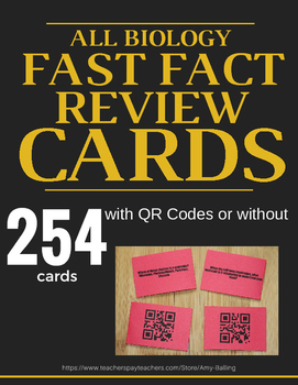 Fast Fact Cards for Biology ALL Units (254 Cards)