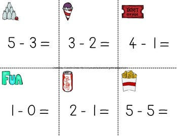 Fast Facts!  Amusement Park 'Solve the Room' for Addition/Subtraction to 5