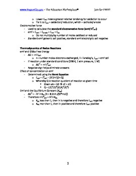 Fast Facts - Electrochemistry and Redox Reactions (Handout / Study Aid)
