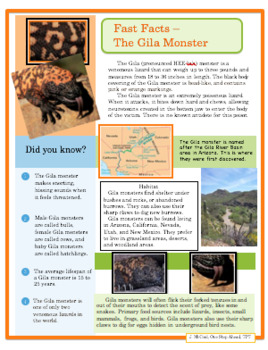 Close Reading - Fast Facts - Gila Monster