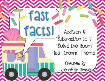 Fast Facts!  Ice Cream 'Solve the Room' For Addition/Subtraction to 5!