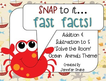 Fast Facts!  Ocean Animals 'Solve the Room' For Addition/Subtraction to 5!