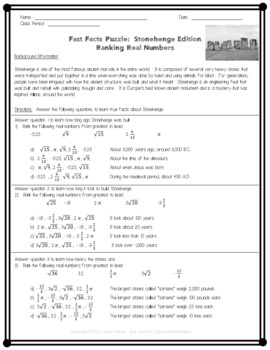Fast Facts Puzzle:  Ordering Real Numbers while learning Stonehenge Facts