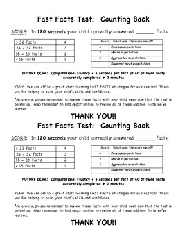 Fast Facts Study Materials:  Counting Back
