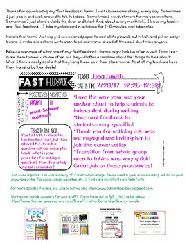 Fast Feedback Form {Quick and Easy Feedback from Principals and Administrators}