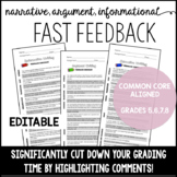 Writing Feedback Made Easy- Fast Feedback for Middle Schoo