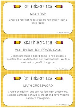 Fast Finisher & Brain Break Task Cards *A must have for relief teachers!*