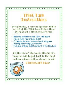 Fast Finisher Math Think Tank activity board