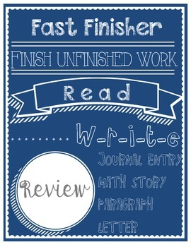 Classroom Management - Fast Finisher Poster