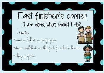Fast Finisher's corner poster