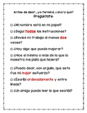 Fast Finishers Checklist (SPANISH)/ Estoy terminado...ahora que?