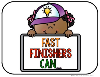Fast Finishers Choice Cards