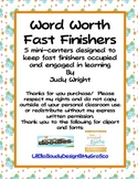 Fast Finishers: Word Worth/ Word Value