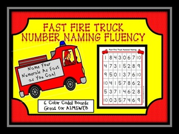 Fast Fire Truck Number Naming Fluency AIMSWEB