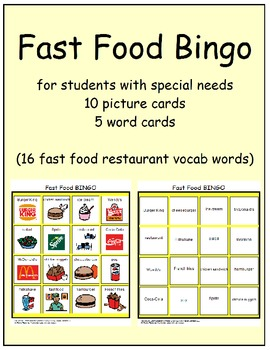 Fast Food Bingo cards (special education, multi needs, autism)