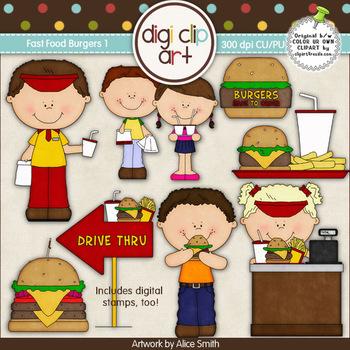 Fast Food Burgers 1-  Digi Clip Art/Digital Stamps - CU Clip Art