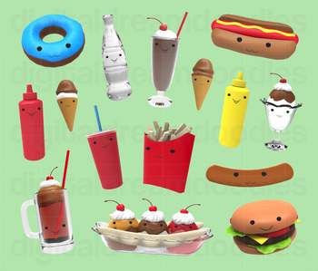 Fast Food Clip Art - Kawaii Digital PNG Graphics