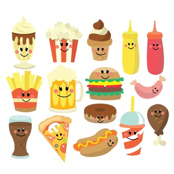Fast Food - Clipart & Vector Set - Instant Download