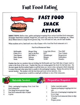 Fast Food Game / Activity