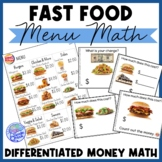 Fast Food Menu Math - BURGER KING for Special Education an