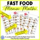 Fast Food Menu Math- Chick Fil-A for Autism Units and Early Elementary