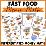 Fast Food Menu Math- LITTLE CAESARS for Autism Units and Early Elementary