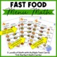 Fast Food Menu Math- NOODLES & CO for Autism Units and Early Elementary