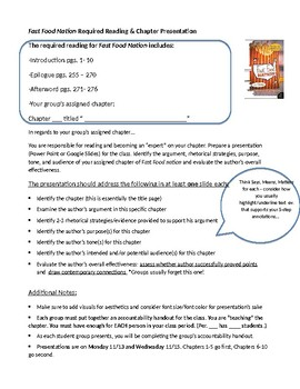 AP Language/Composition -Fast Food Nation Assignment and Test