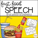 Fast Food No Prep Articulation Worksheets