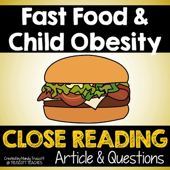 Fast Food & Obesity: Close Reading Article & Questions