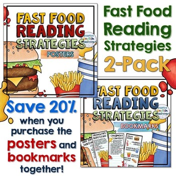 Fast Food Reading Strategies Posters and Bookmarks (2-Pack)