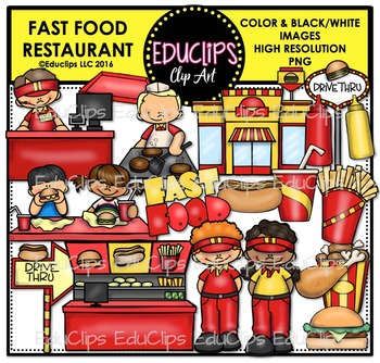 Fast Food Restaurant Clip Art Bundle {Educlips Clipart}