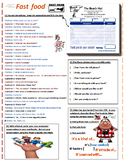 Fast Food Restaurant Dialogue Worksheet, Crosswords, Idiom